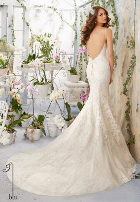 Style 5415 - Lace Contoured Net with Appliques and Crystal Beading Wedding Dress