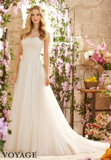 Style 6801 - Romantic Wedding Dress with Alencon Lace on Soft Net