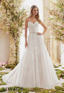 Style 6834 - Romantic Soft Tulle Overlays Delicately Beaded Alencon Lace Appliques Wedding Dress