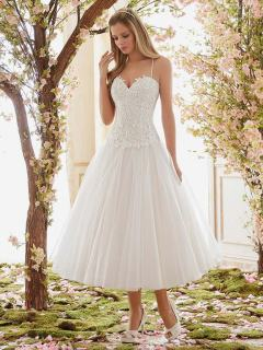 Style 6840 & 6843 - Romantic Venice Appliques Over Chantilly Lace Wedding Dress Bodice & Tulle Tea-Length Wedding Dress Skirt