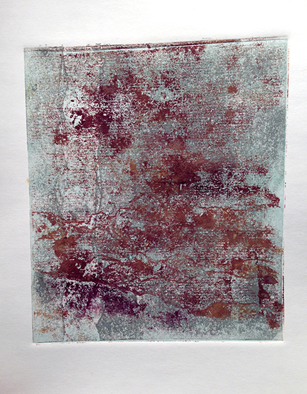 Duck egg, grey and purple layers from 3 card plates. The final purple layer was pressed by hand.