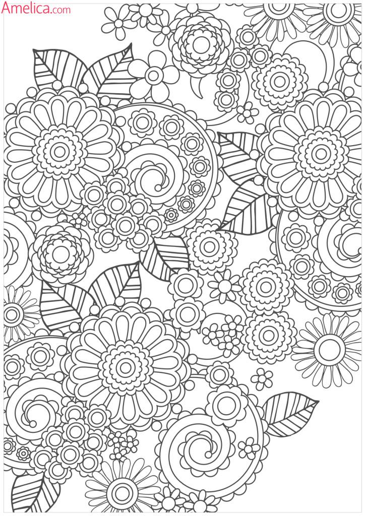 раскраска релакс с девушками распечатать а4 цветочная арт