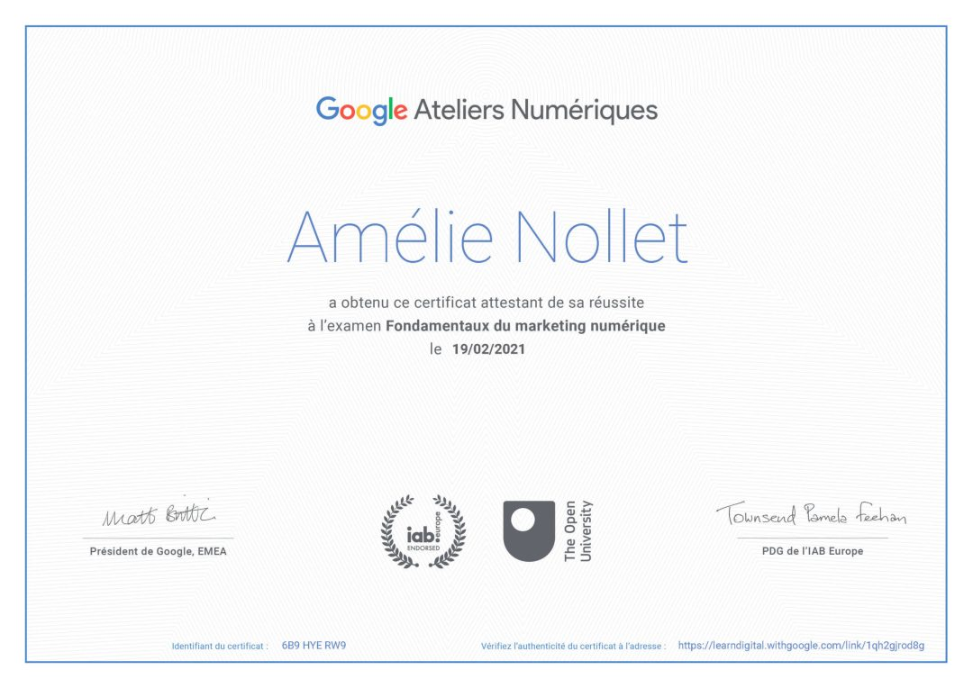 certification Google Atelier numériue