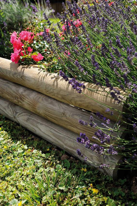 Bordure Bois Pour Jardin | Une Bordure De Rondins Pour Le Jardin ...
