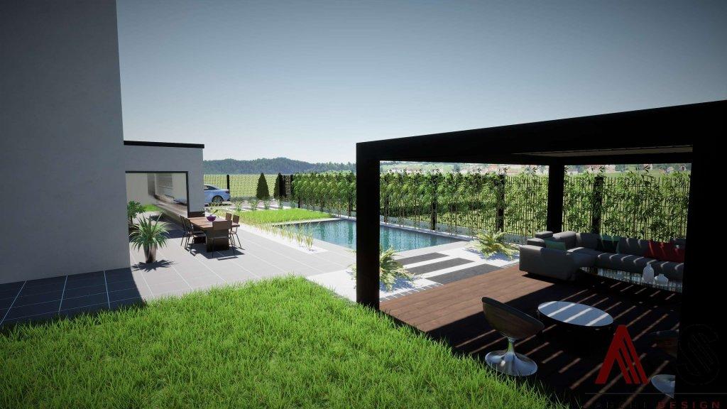 aménagement extérieur avec une pergola ou un abri bois à côté de la piscine