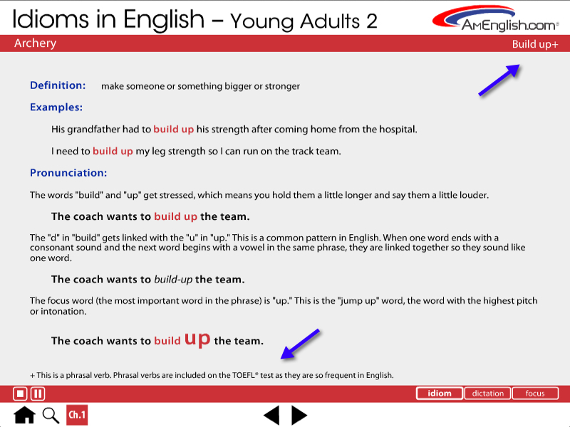Idiom page in Idioms in English for Young Adults
