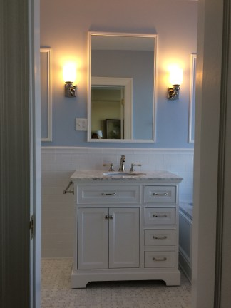 Spacious vanity replaced a small pedestal sink