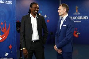 Legends Birkir Kristinsson of Iceland and Nwanko Kanu of Nigeria before the match at the Volgograd Arena on Friday evening [www.amenradio.net]