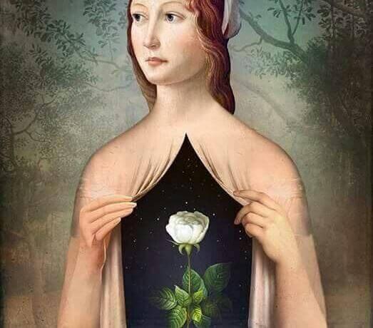 mulher-com-rosa-no-peito