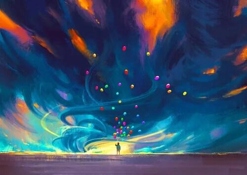 Jovem balões coloridos