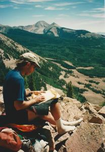Sitting among the Manti-La Sal Mountains in Utah, 1996.