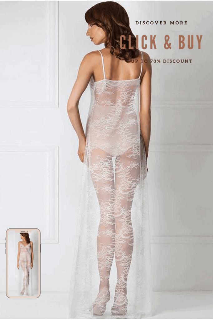 Lavinia Sexy Lingerie Design Lencería Satin Gorgeous Elegant Long White