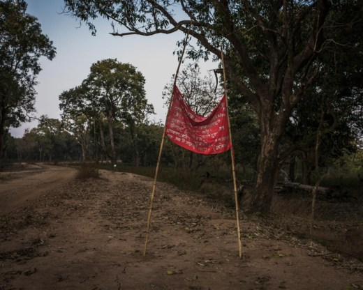 A Maoist notice declaring a strike is set up on a road by the forests of southern Bastar in Chhattisgarh, India.
