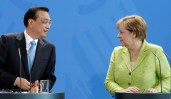 German Chancellor Angela Merkel, right, and China's Premier, Li Keqiang, left, look at each other during a joint press conference as part of a meeting at the chancellery in Berlin, Germany, Thursday, June 1, 2017. (AP Photo/Michael Sohn)