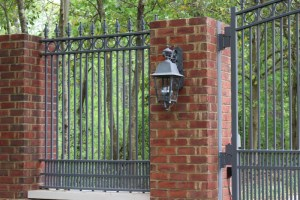 Metal and Brick Ornamental Driveway Gate | America Fence