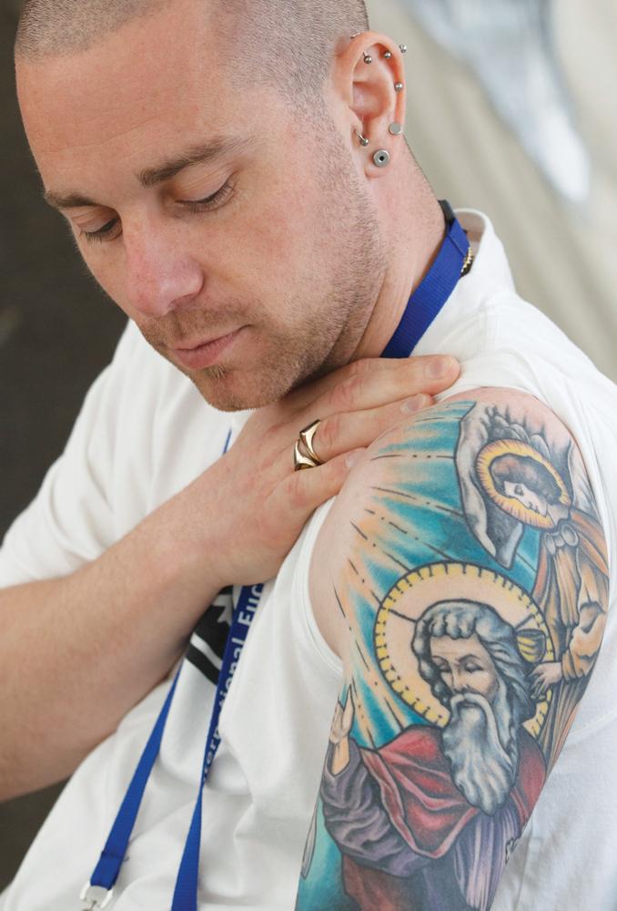 Catholic Tattoo Sleeve : catholic, tattoo, sleeve, Marked, Christ:, Sacred, Symbolism, Religious, Tattoos, America, Magazine