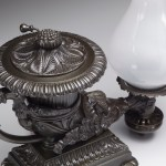 Rhyton-Form Bronze Argand Lamps