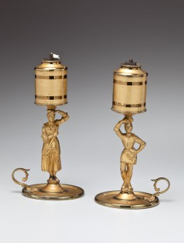 Lacquered Brass Figural Lard Lamps