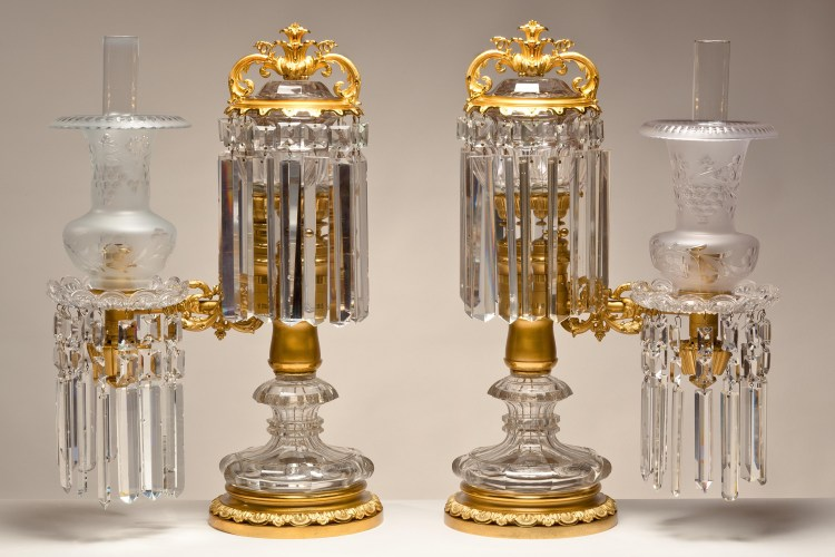Pair of Lacquered Brass and Crystal Argand Lamps