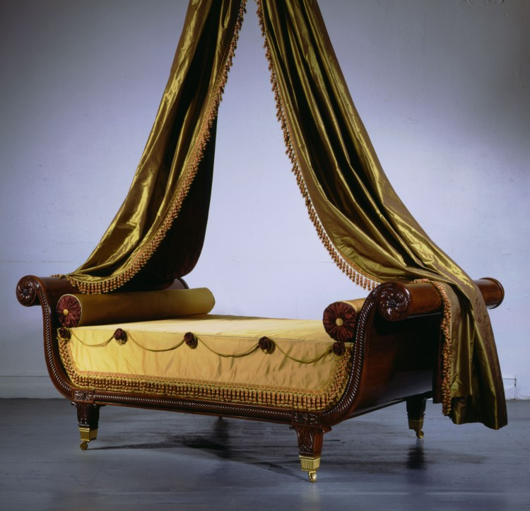Carved Mahogany Sleigh Bed