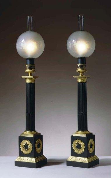 L-012173 Pair of Column-Form Carcel Oil Lamps