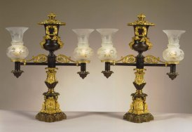 Pair of Argand Lamps by Messenger