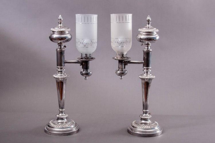 Sheffield Silver Argand Lamps by Matthew Boulton