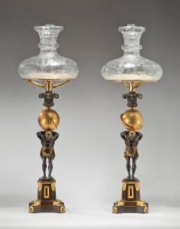 Pair of Atlas-base Sinumbra Argand Lamps by Messenger