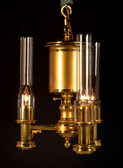 Pendant Brass Argand Lamp by Bright & Co.