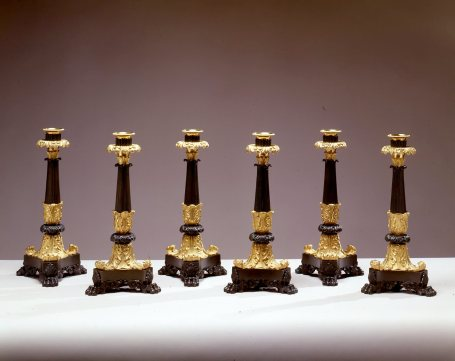 Set of Six Gilt and Patinated Bronze Candlesticks