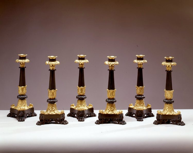 Set of Six Gilt and Patinated Bronze Candlesticks