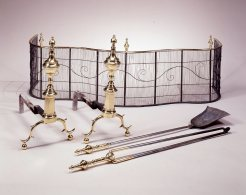 Mt-NY Urn-top Andirons with Tools & Fire Screen