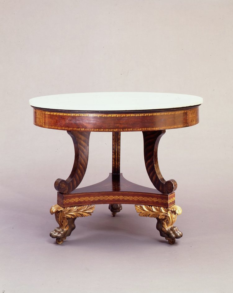 Parcel-Gilt and Gilt-Stenciled Faux-Grained Center Table,