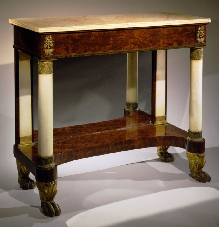Bronze-Mounted Parcel-Gilt Mahogany Pier Table