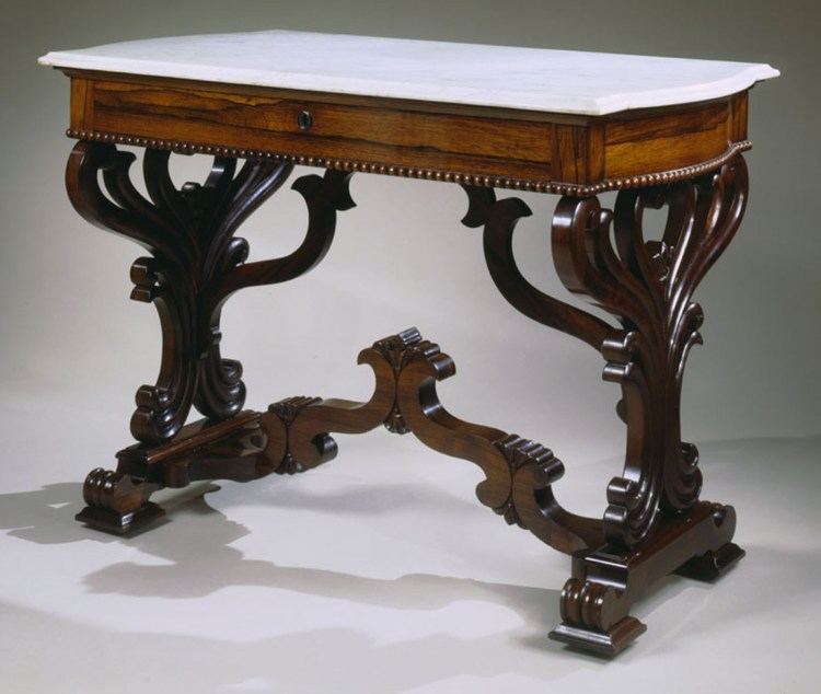 Late Classical Rosewood Library Table by Meeks