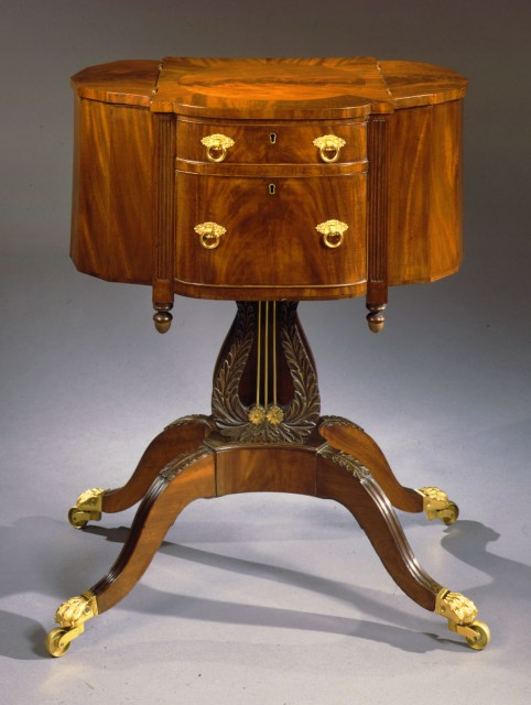 Classical Carved Mahogany Work Table