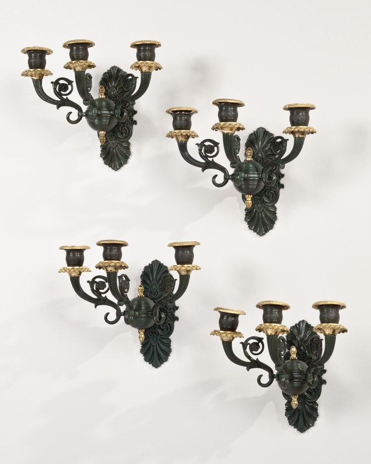 Set of Four Patinated Bronze Wall Lights or Sconces, each with three candle arms.  Not electrified.  French      H: Approx. 8""