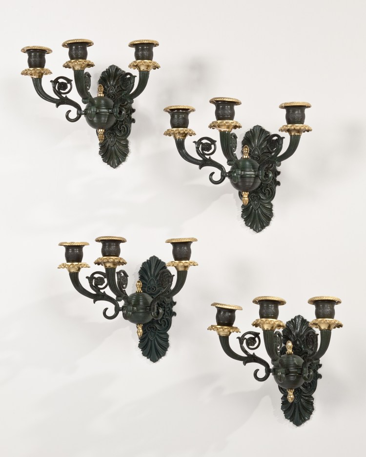"""Set of Four Patinated Bronze Wall Lights or Sconces, each with three candle arms.  Not electrified.  French      H: Approx. 8"""""""