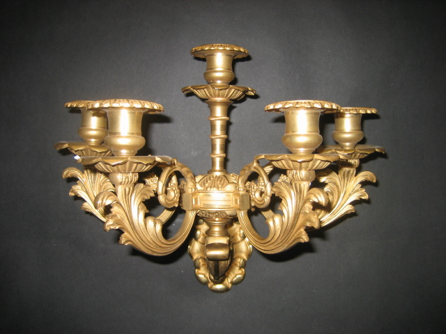 Pair of Gilt-Bronze 5-Light Sconces