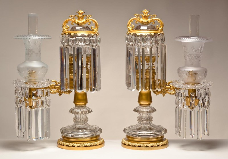 Pair of Brass and Crystal Argand Lamps