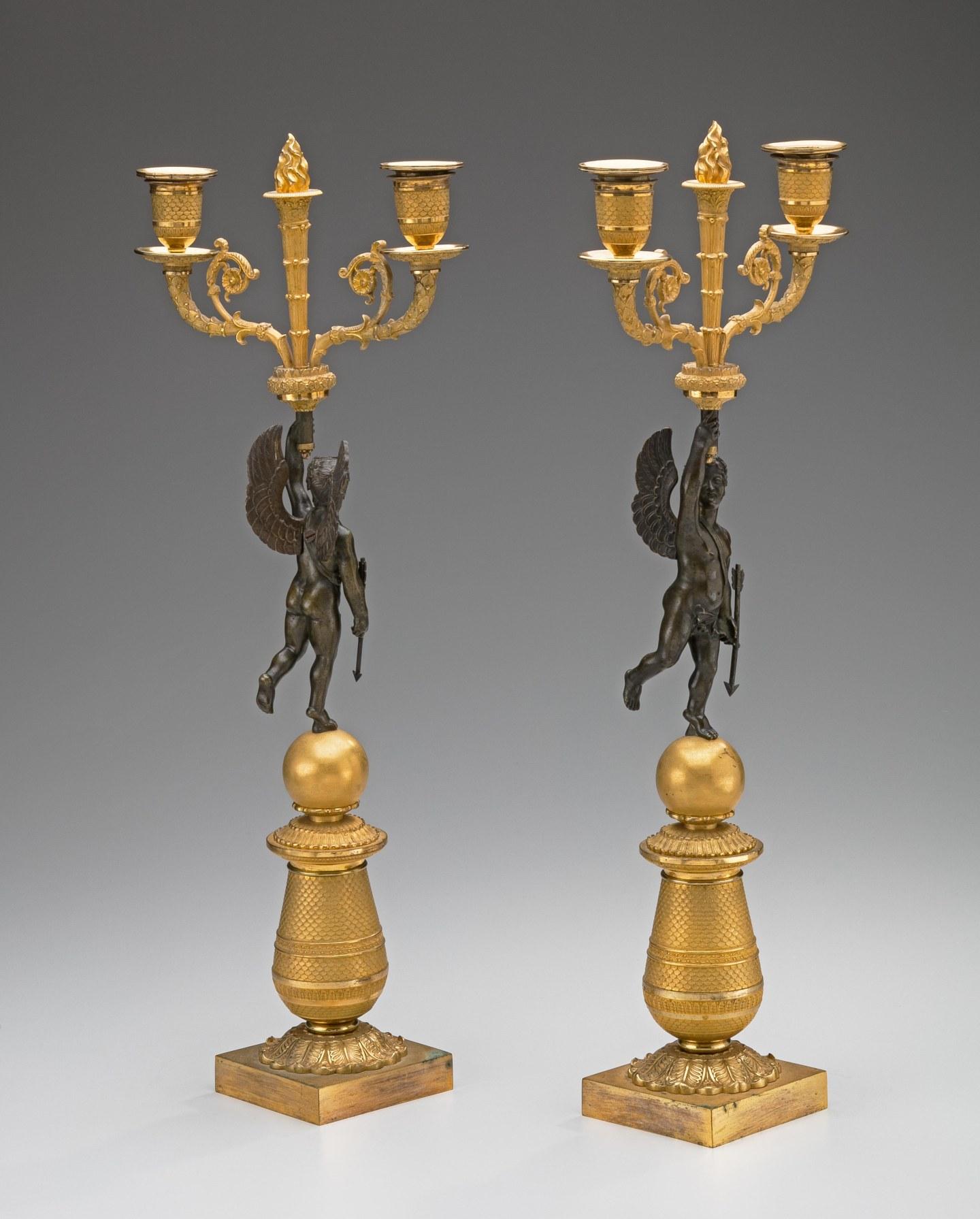 Pair of Restauration Gilt-Bronze Candelabra