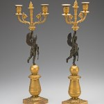 Pair of Restauration Gilt-Bronze Candelabra