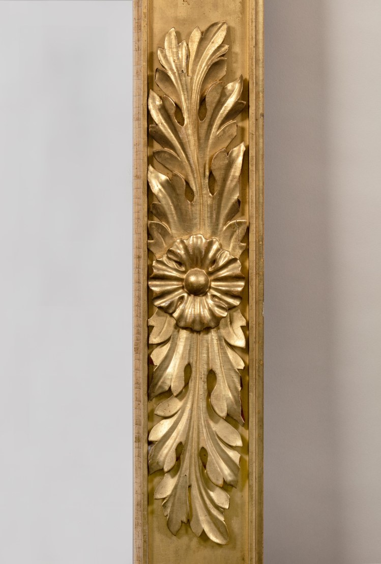 Carved Gilt-wood Pier Mirror : Detail of mid-span carving; acanthus leaves centering a rosette.