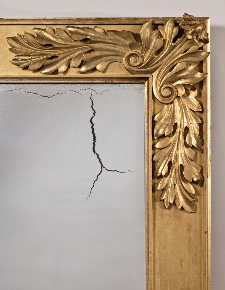 Classical Gilt-Wood Pier Mirror: Detail of acanthus leaf carving at the corners.