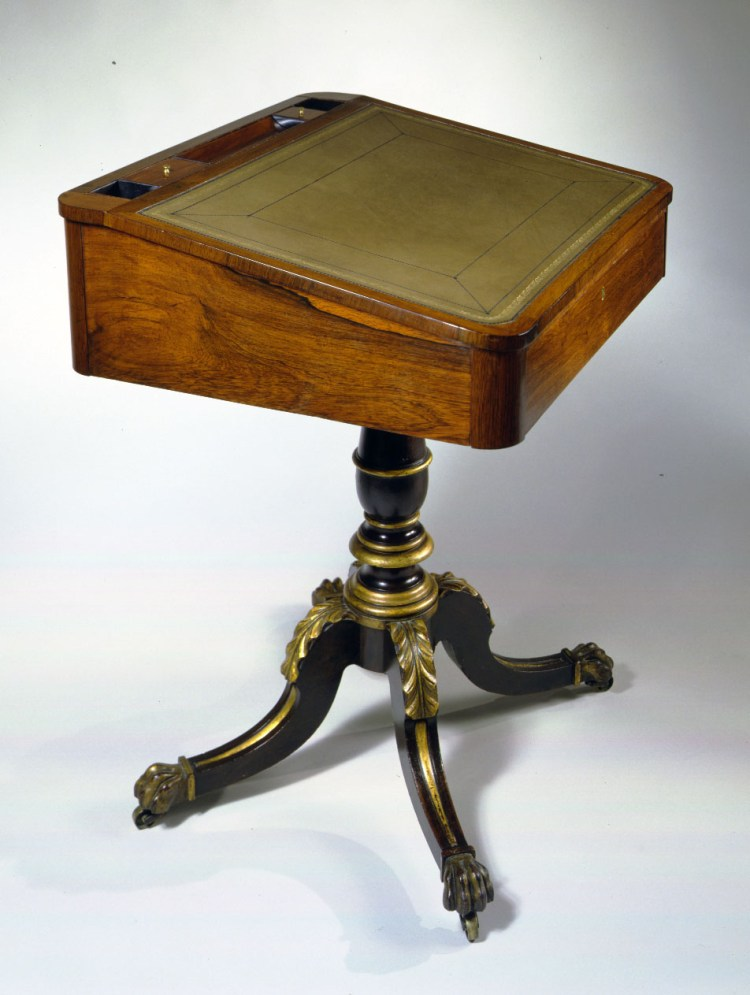 Rosewood and Faux-Rosewood, Parcel-Gilt Pedestal Desk: Side view.
