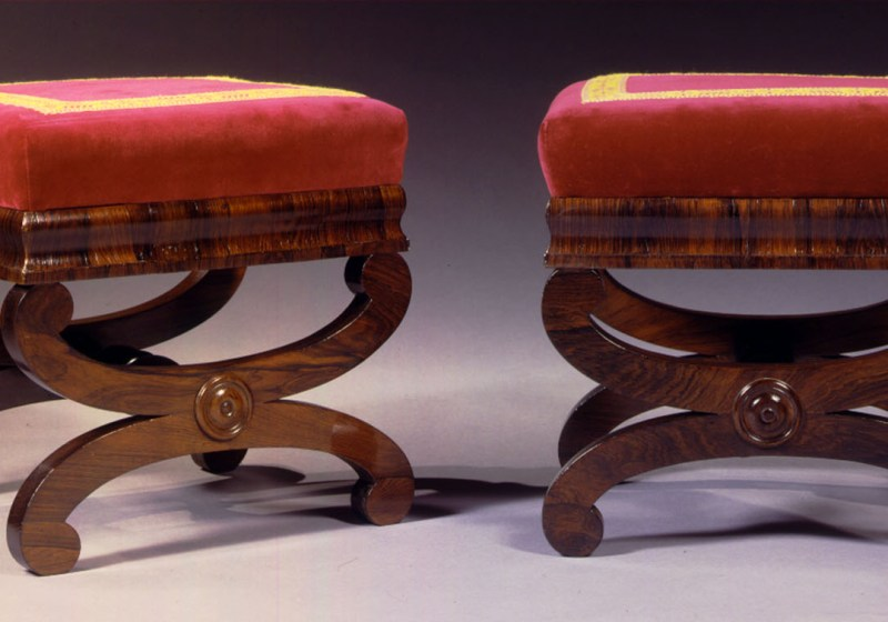 Pair of Rosewood Curule-base Footstools