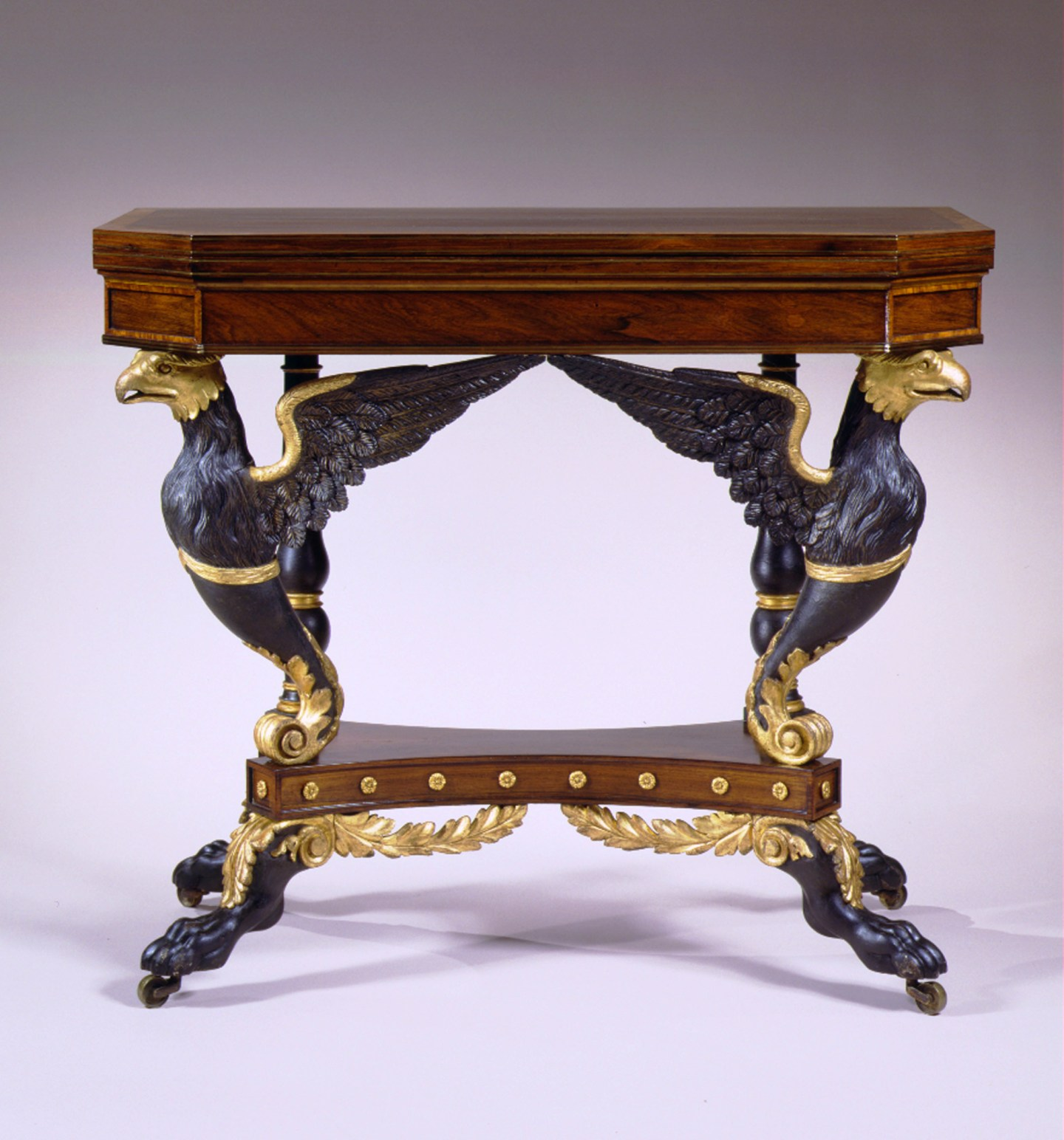 Eagle-Carved Parcel-Gilt Card Table by Duncan Phyfe