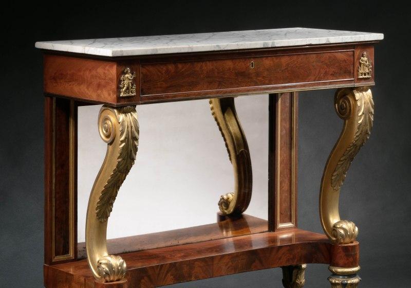 Bronze-Mounted Parcel-Gilt Pier Table