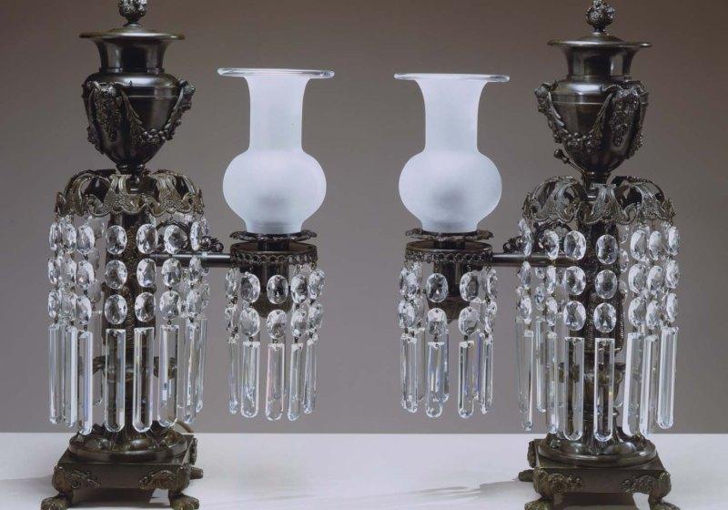 Pair of Bronze Argand Lamps
