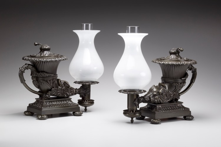 Rhyton-Form Argand Lamps by Messenger